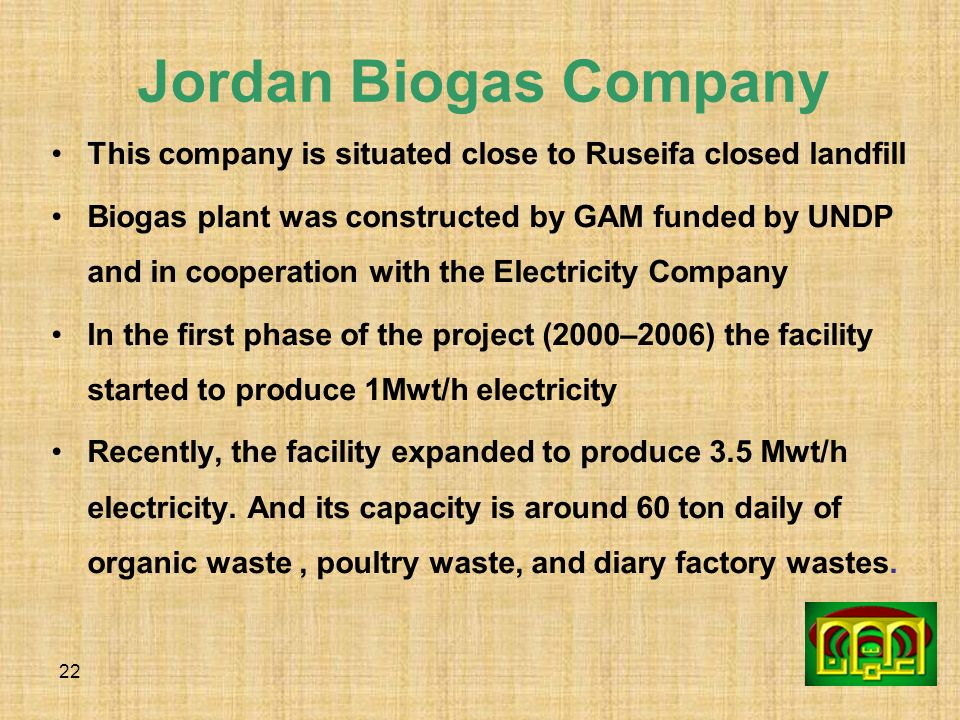 22 Jordan Biogas Company This company is situated close to Ruseifa closed landfill Biogas plant was constructed by GAM funded by UNDP and in cooperati