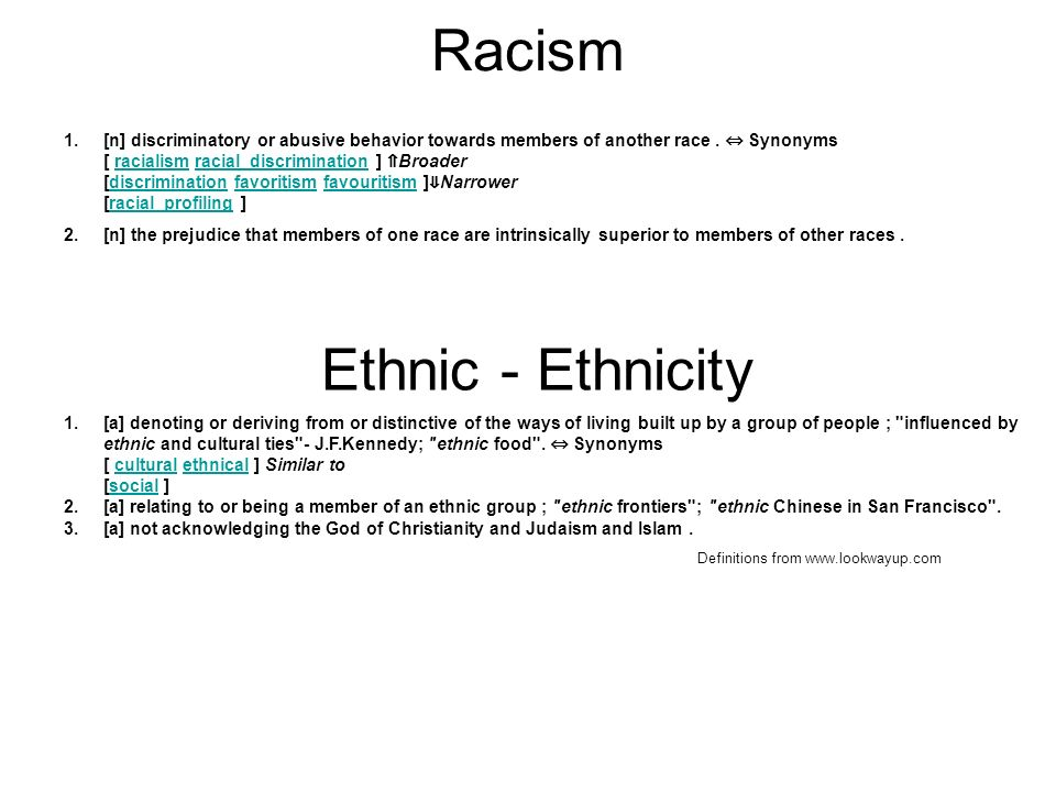Racism 1.[n] discriminatory or abusive behavior towards members of another race. Synonyms [ racialism racial_discrimination ] Broader [discrimination