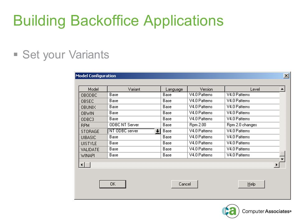 Building Backoffice Applications Set your Variants