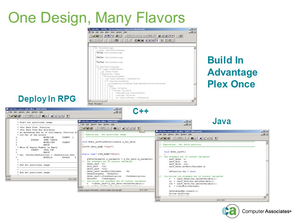 One Design, Many Flavors Build In Advantage Plex Once Deploy In RPG C++ Java