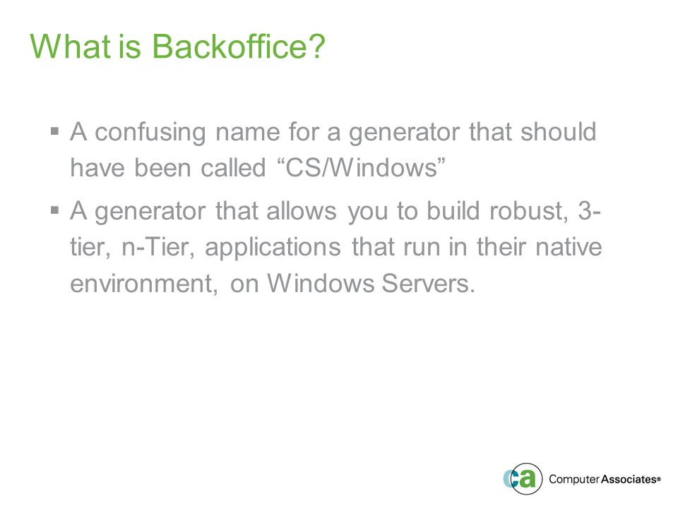 What is Backoffice.
