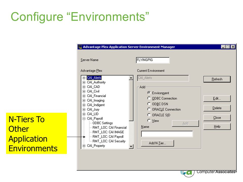 Configure Environments N-Tiers To Other Application Environments