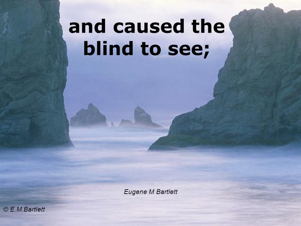 and caused the blind to see; Eugene M Bartlett © E.M.Bartlett