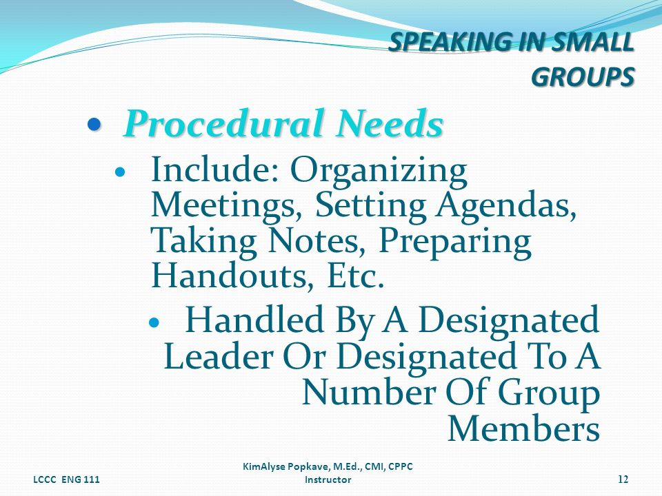 Procedural Needs Procedural Needs Include: Organizing Meetings, Setting Agendas, Taking Notes, Preparing Handouts, Etc. Handled By A Designated Leader