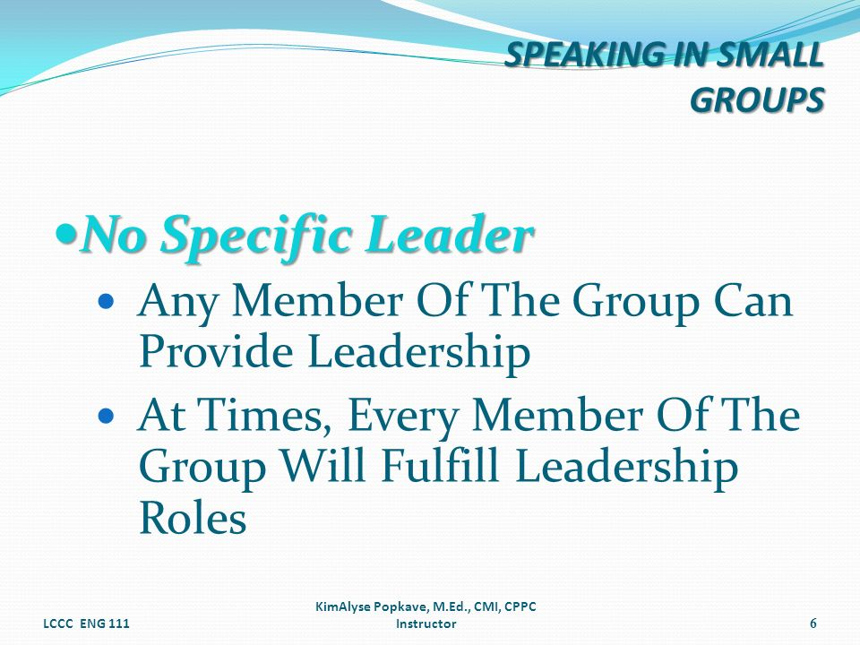 No Specific Leader No Specific Leader Any Member Of The Group Can Provide Leadership At Times, Every Member Of The Group Will Fulfill Leadership Roles