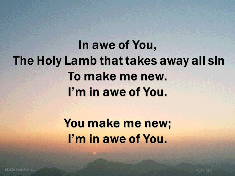 In awe of You, The Holy Lamb that takes away all sin To make me new. Im in awe of You. You make me new; Im in awe of You.