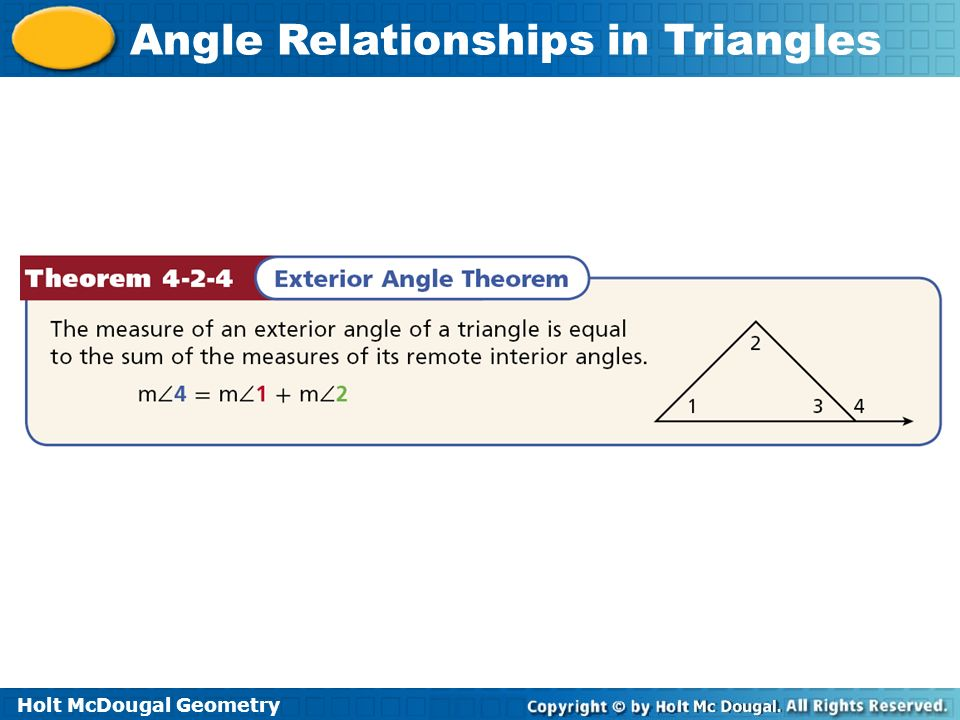 Holt McDougal Geometry Angle Relationships in Triangles