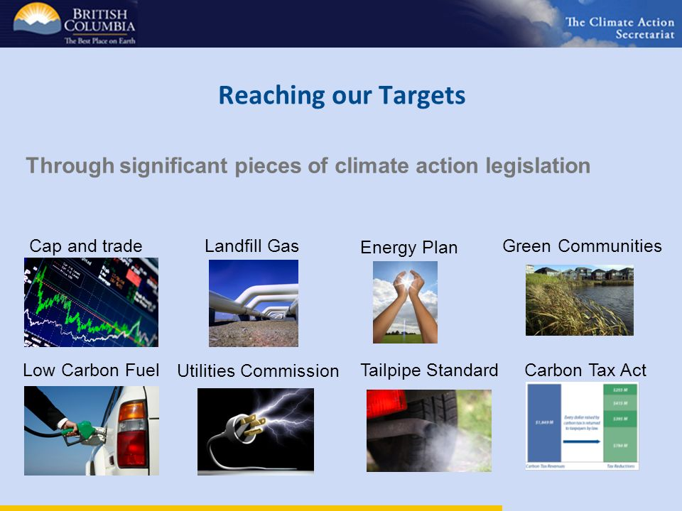 Reaching our Targets Energy Plan Tailpipe StandardLow Carbon Fuel Cap and tradeLandfill Gas Utilities Commission Green Communities Carbon Tax Act Through significant pieces of climate action legislation