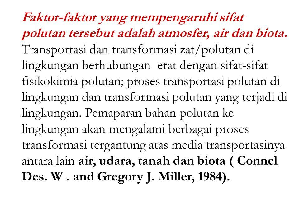 2.1). Fase Eksposisi : Merupakan ketersediaan biologis suatu polutan di lingkungan dan hal ini erat kaitannya dengan introduksi oleh manusia. Selama f