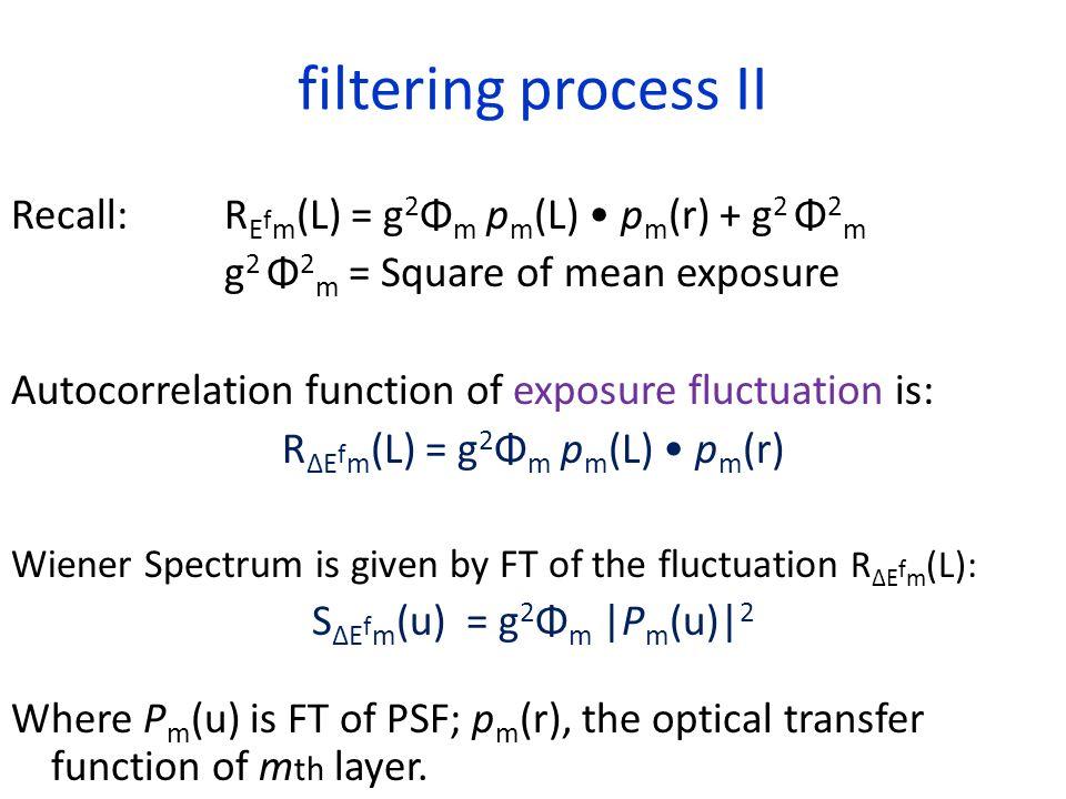 filtering process II Recall: R E f m (L) = g 2 Φ m p m (L) p m (r) + g 2 Φ 2 m g 2 Φ 2 m = Square of mean exposure Autocorrelation function of exposur