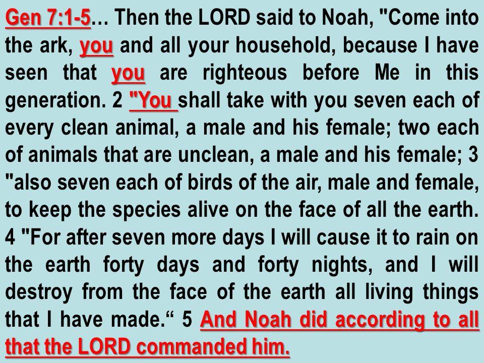 Gen 7:1-5 you you