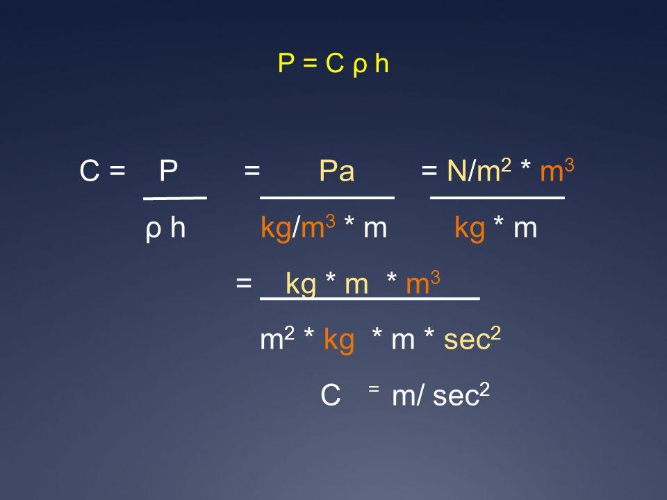 C = P = Pa = N/m 2 * m 3 ρ h kg/m 3 * m kg * m = kg * m * m 3 m 2 * kg * m * sec 2 C = m/ sec 2