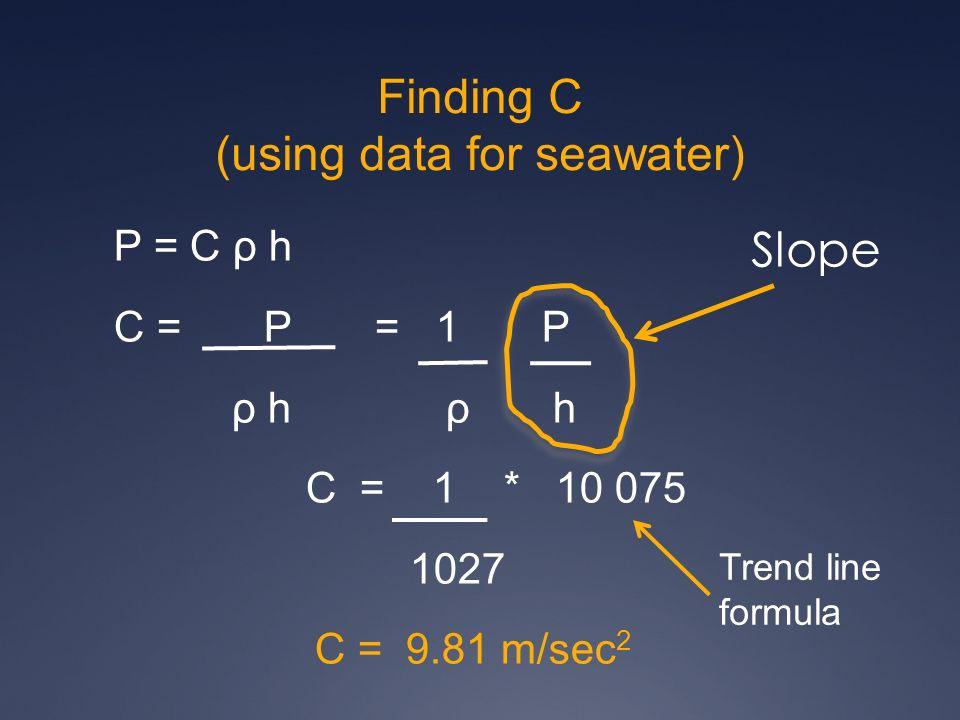 Finding C (using data for seawater) P = C ρ h C = P = 1 P ρ h ρ h C = 1 * 10 075 1027 C = 9.81 m/sec 2 Slope Trend line formula