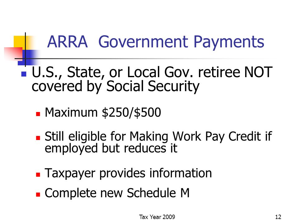 Tax Year 200912 ARRA Government Payments U.S., State, or Local Gov.
