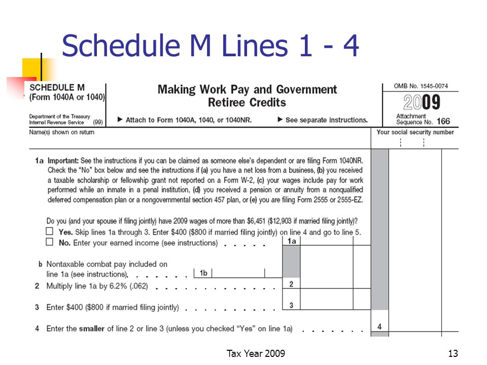 Tax Year 200913 Schedule M Lines 1 - 4