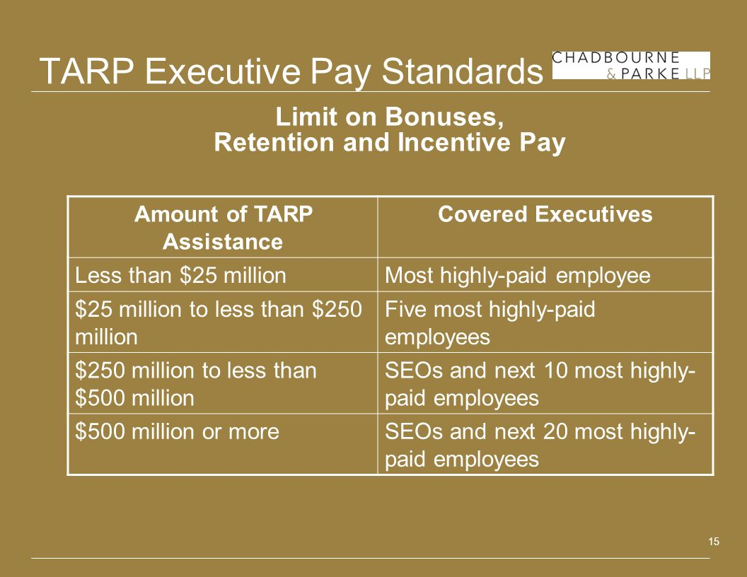 15 TARP Executive Pay Standards Limit on Bonuses, Retention and Incentive Pay Amount of TARP Assistance Covered Executives Less than $25 millionMost h