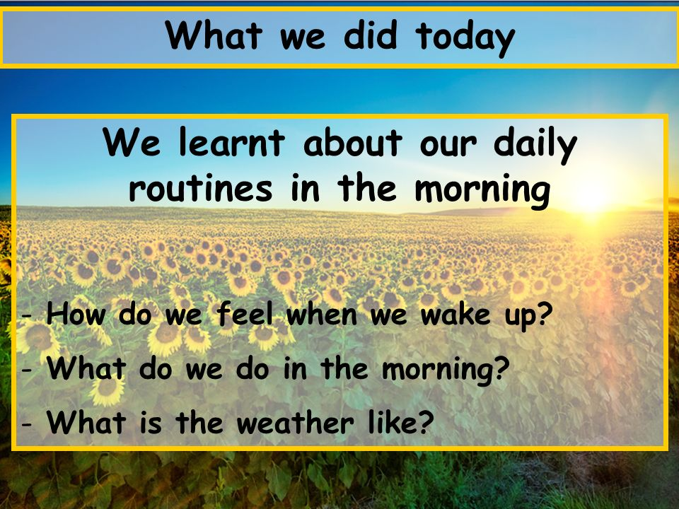 What we did today We learnt about our daily routines in the morning - How do we feel when we wake up? - What do we do in the morning? - What is the we