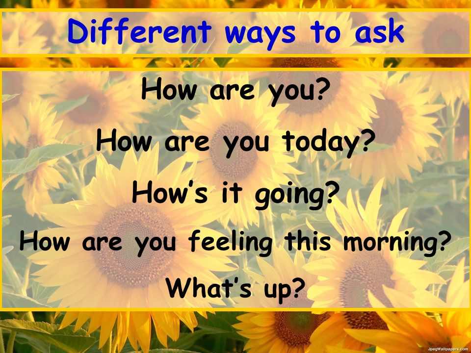 Different ways to ask How are you. How are you today.