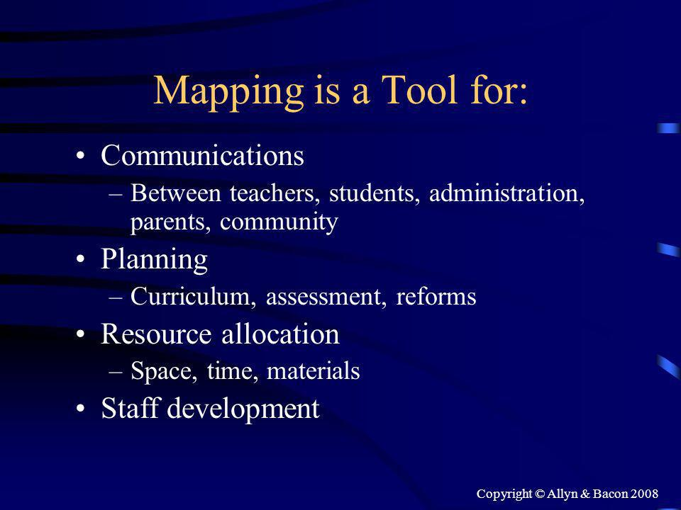 Copyright © Allyn & Bacon 2008 Mapping is a Tool for: Communications –Between teachers, students, administration, parents, community Planning –Curriculum, assessment, reforms Resource allocation –Space, time, materials Staff development