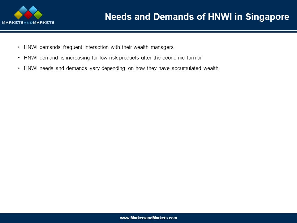 www.MarketsandMarkets.com Needs and Demands of HNWI in Singapore HNWI demands frequent interaction with their wealth managers HNWI demand is increasing for low risk products after the economic turmoil HNWI needs and demands vary depending on how they have accumulated wealth