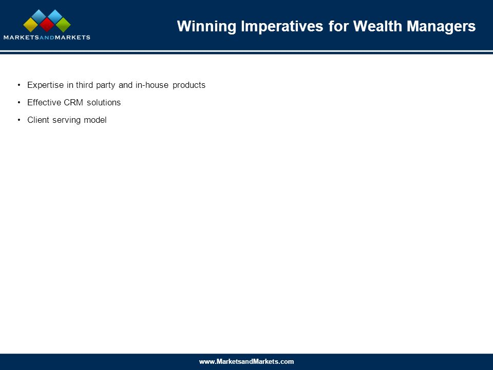www.MarketsandMarkets.com Expertise in third party and in-house products Effective CRM solutions Client serving model Winning Imperatives for Wealth Managers