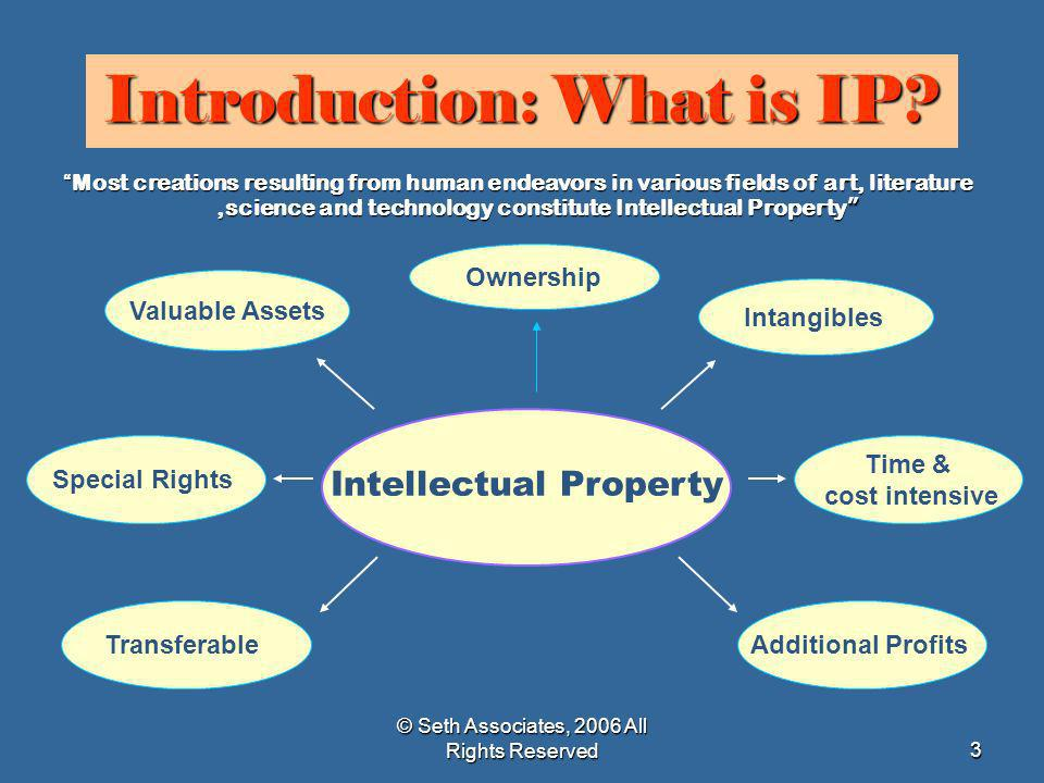 © Seth Associates, 2006 All Rights Reserved3 Introduction: What is IP? Intellectual Property Ownership Intangibles Time & cost intensive Additional Pr