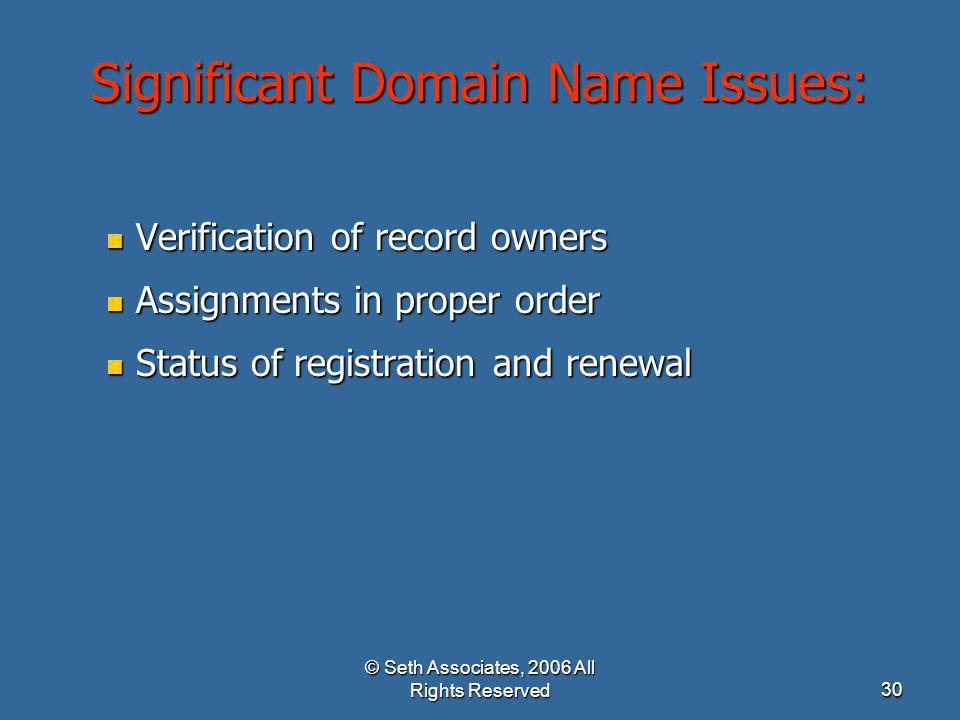 © Seth Associates, 2006 All Rights Reserved30 Significant Domain Name Issues: Verification of record owners Verification of record owners Assignments