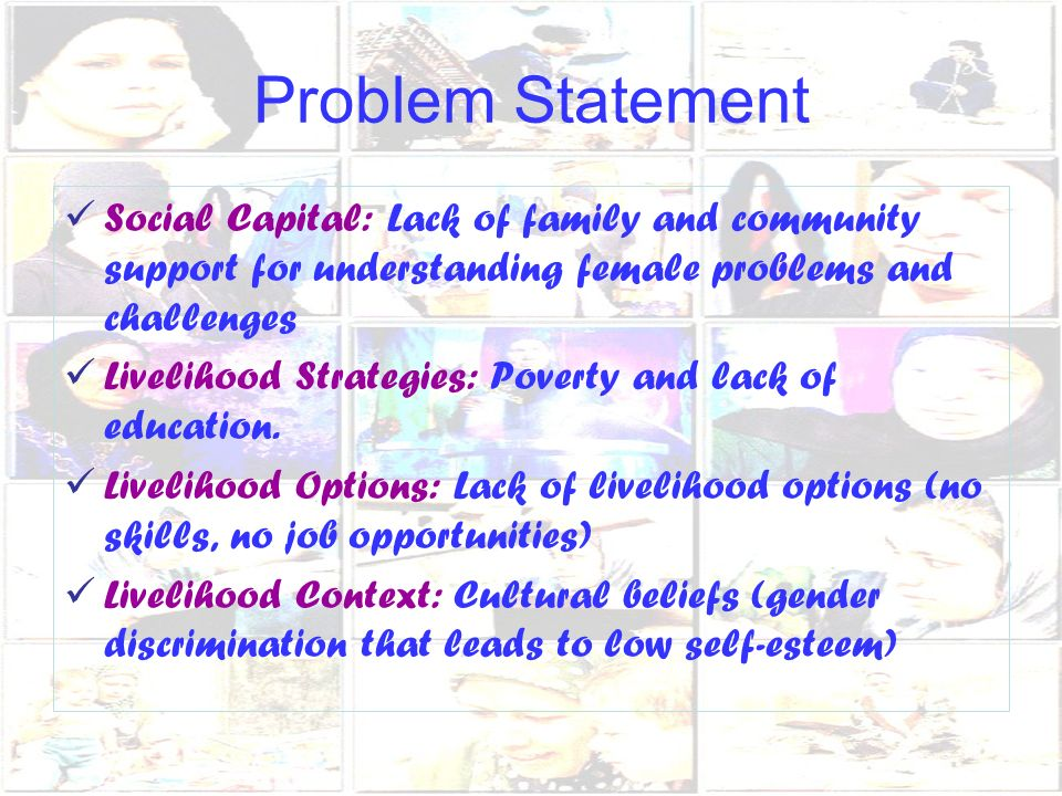 Problem Statement Social Capital: Lack of family and community support for understanding female problems and challenges Livelihood Strategies: Poverty