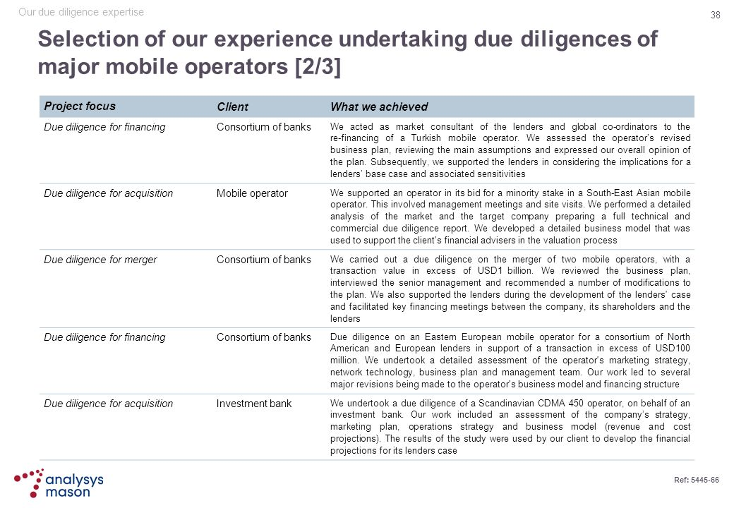 38 Ref: 5445-66 Selection of our experience undertaking due diligences of major mobile operators [2/3] Project focus ClientWhat we achieved Due dilige