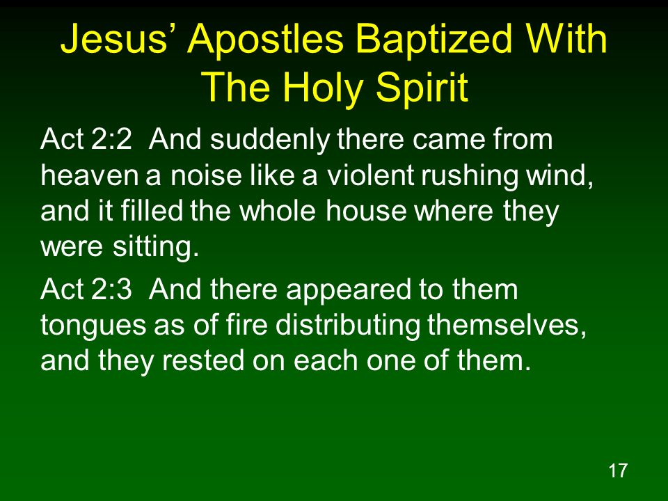 17 Jesus Apostles Baptized With The Holy Spirit Act 2:2 And suddenly there came from heaven a noise like a violent rushing wind, and it filled the who