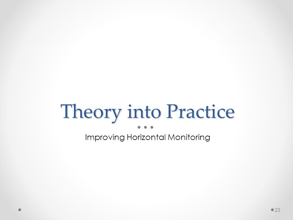 Theory into Practice Improving Horizontal Monitoring 23