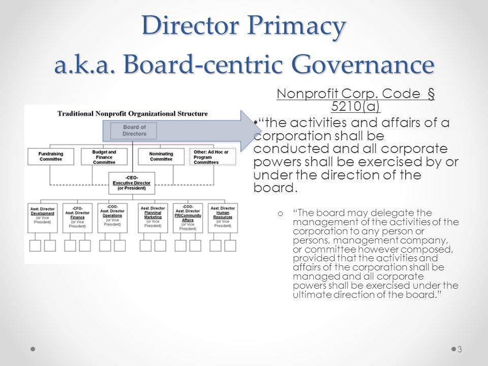 Director Primacy a.k.a. Board-centric Governance Nonprofit Corp. Code § 5210(a) the activities and affairs of a corporation shall be conducted and all