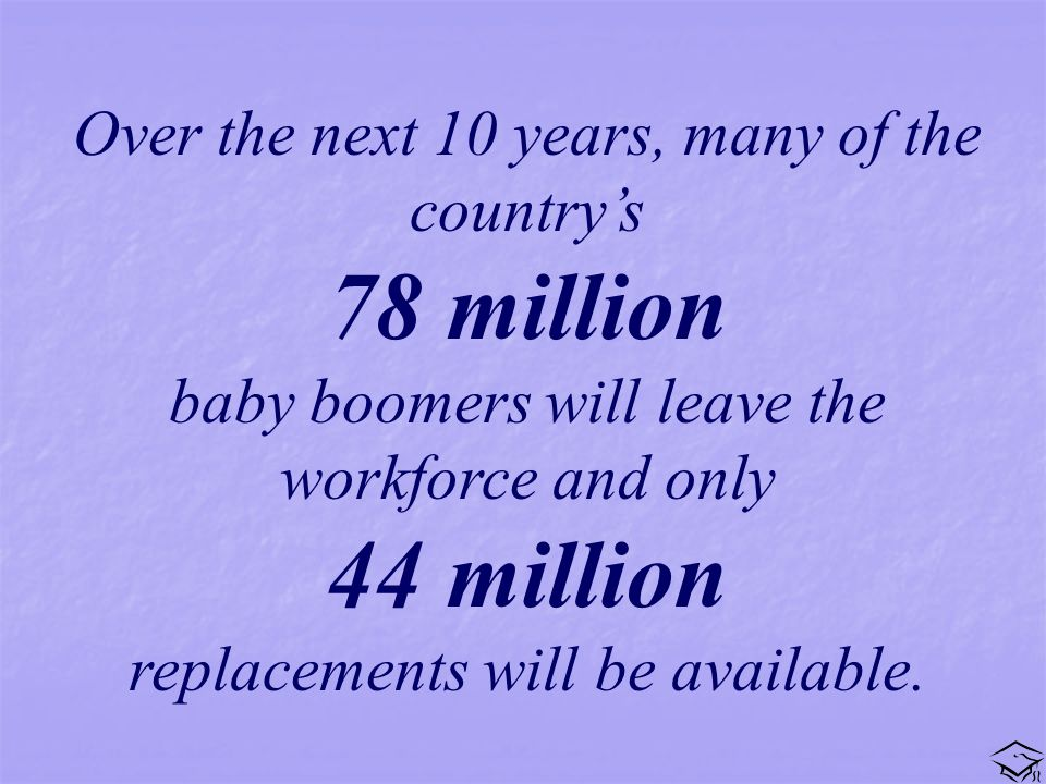 Over the next 10 years, many of the countrys 78 million baby boomers will leave the workforce and only 44 million replacements will be available.