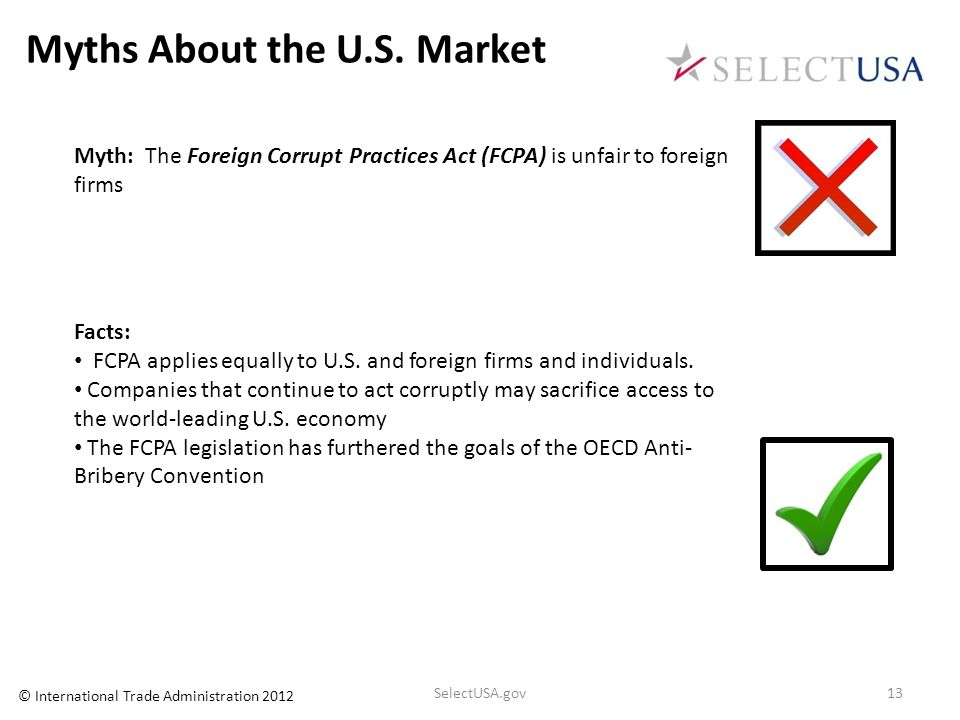 Myths About the U.S. Market Myth: The Foreign Corrupt Practices Act (FCPA) is unfair to foreign firms Facts: FCPA applies equally to U.S. and foreign