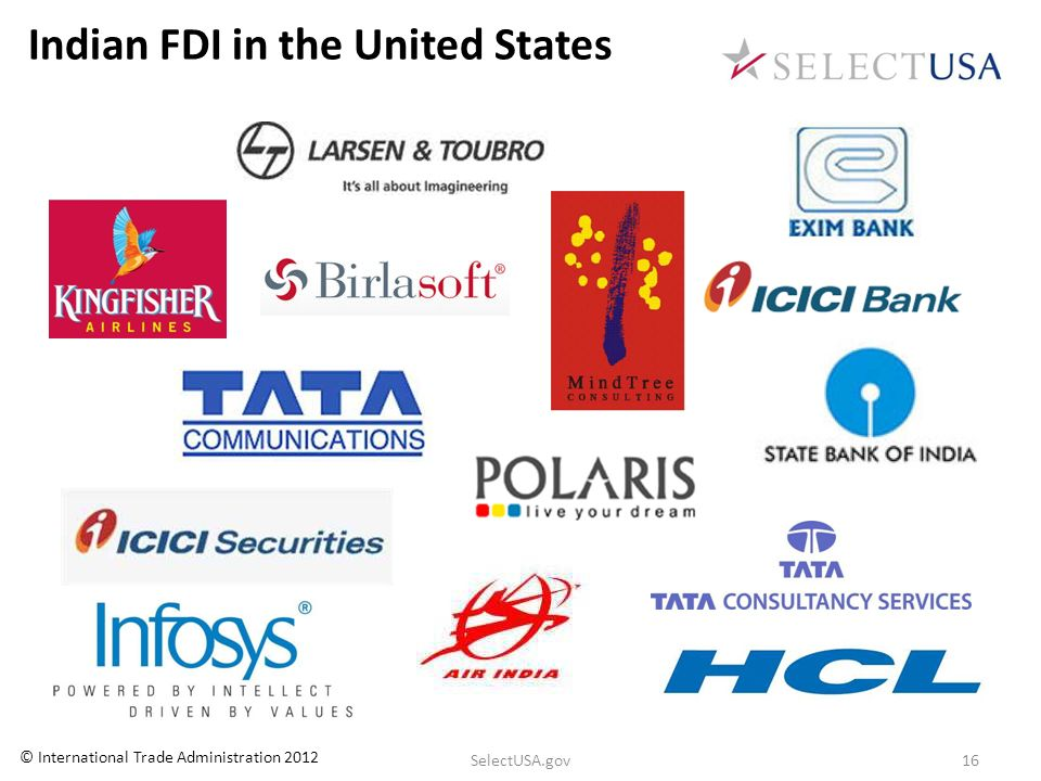 Indian FDI in the United States 16SelectUSA.gov © International Trade Administration 2012