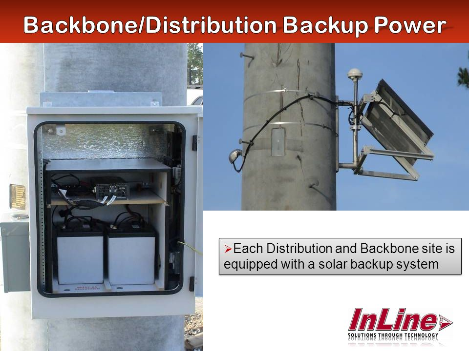 Each Distribution and Backbone site is equipped with a solar backup system