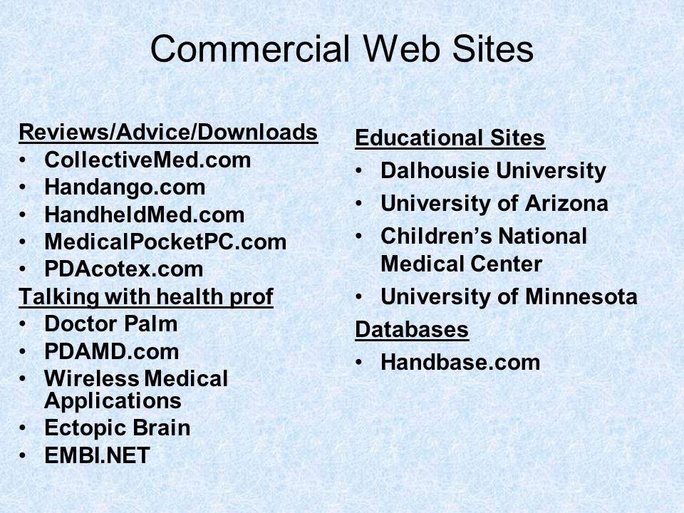 Commercial Web Sites Reviews/Advice/Downloads CollectiveMed.com Handango.com HandheldMed.com MedicalPocketPC.com PDAcotex.com Talking with health prof