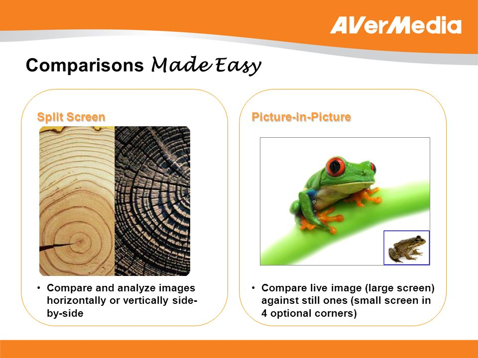 Comparisons Made Easy Split Screen Picture-in-Picture Compare and analyze images horizontally or vertically side- by-side Compare live image (large sc