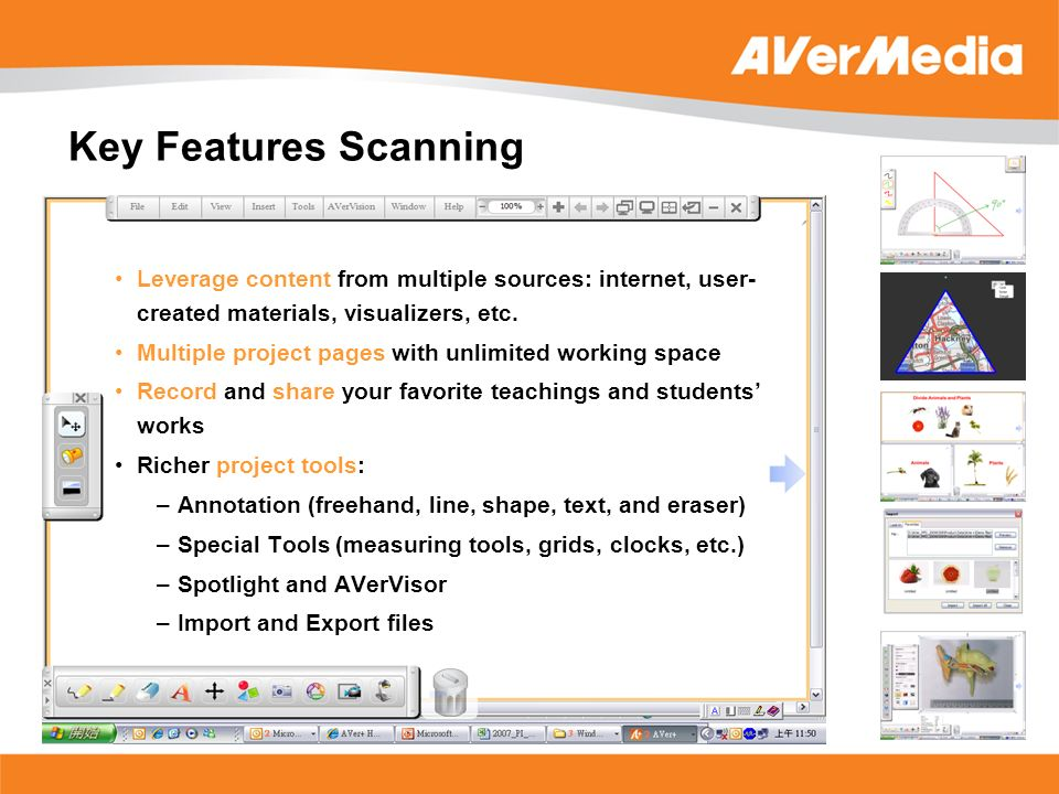 Leverage content from multiple sources: internet, user- created materials, visualizers, etc. Multiple project pages with unlimited working space Recor