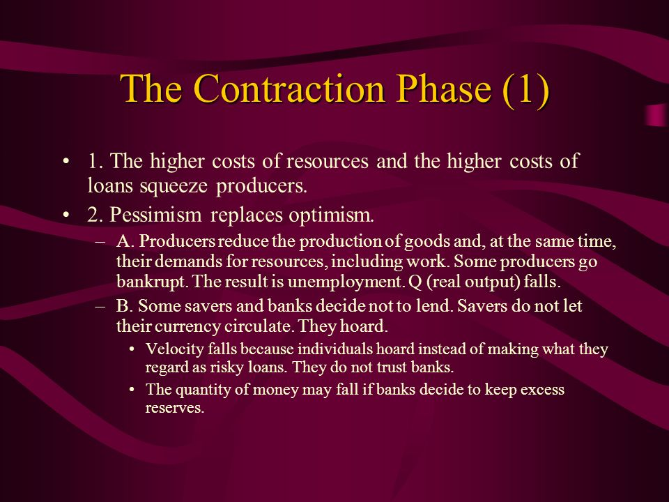 The Contraction Phase (1) 1. The higher costs of resources and the higher costs of loans squeeze producers. 2. Pessimism replaces optimism. –A. Produc
