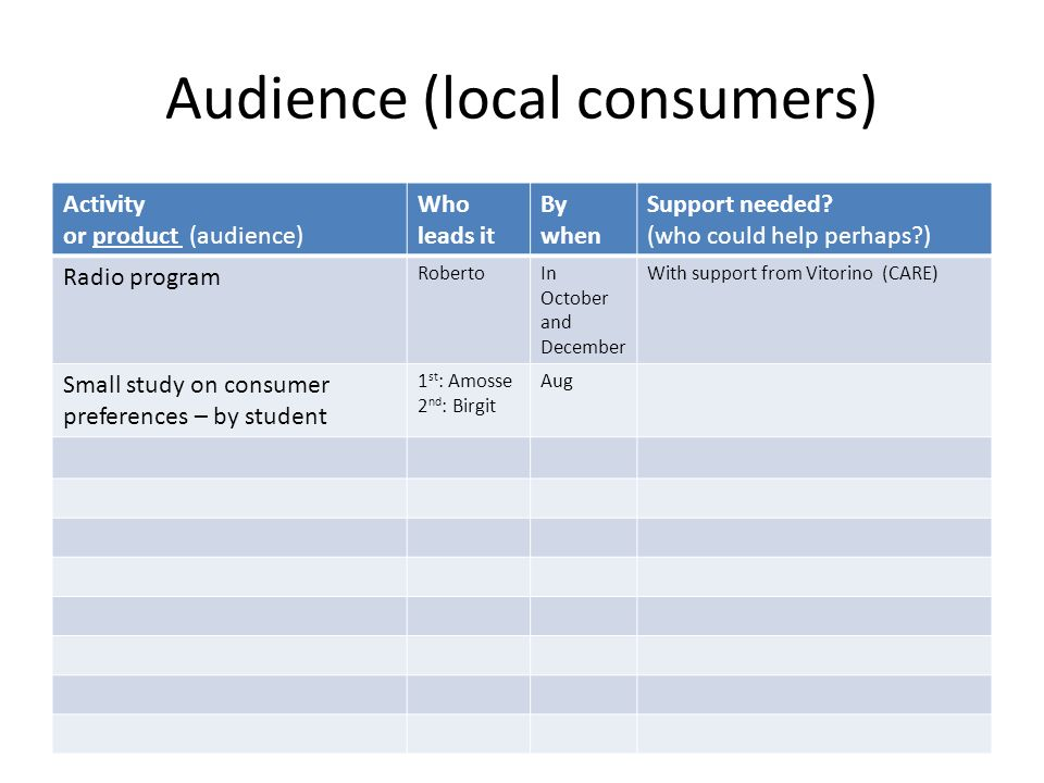 Audience (local consumers) Activity or product (audience) Who leads it By when Support needed? (who could help perhaps?) Radio program RobertoIn Octob