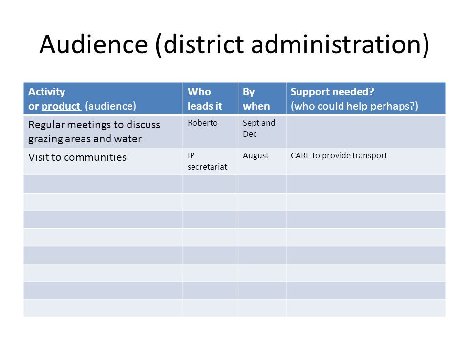 Audience (district administration) Activity or product (audience) Who leads it By when Support needed.