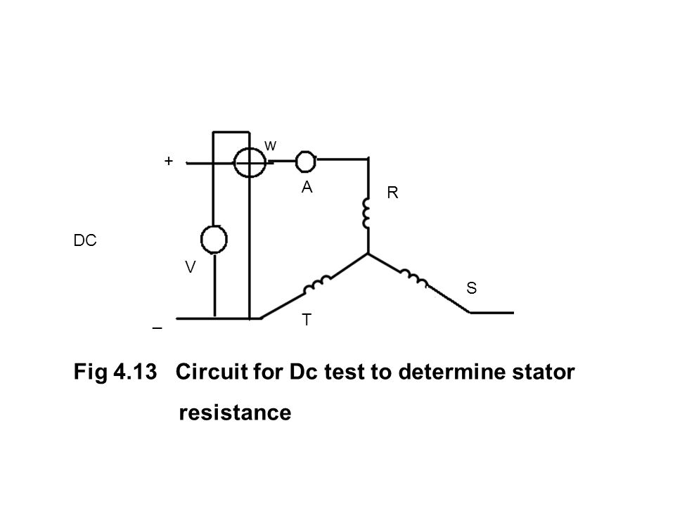DC w A V + _ R S T Fig 4.13 Circuit for Dc test to determine stator resistance
