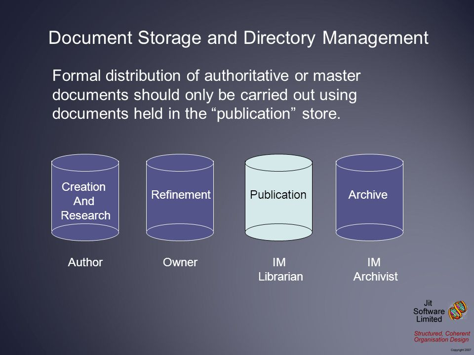 Formal distribution of authoritative or master documents should only be carried out using documents held in the publication store.