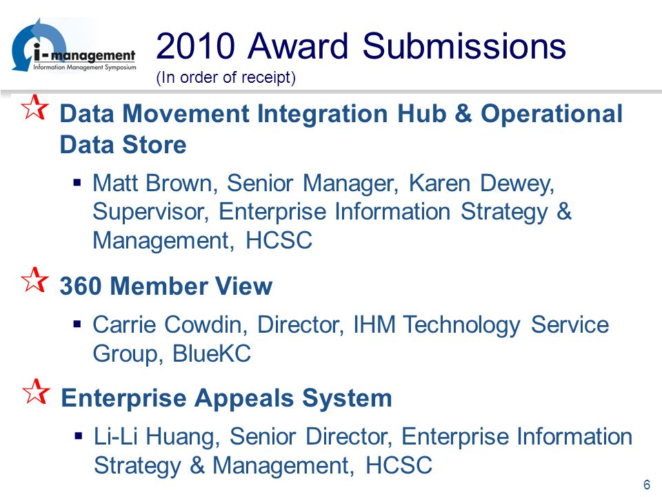 6 2010 Award Submissions (In order of receipt) Data Movement Integration Hub & Operational Data Store Matt Brown, Senior Manager, Karen Dewey, Supervisor, Enterprise Information Strategy & Management, HCSC 360 Member View Carrie Cowdin, Director, IHM Technology Service Group, BlueKC Enterprise Appeals System Li-Li Huang, Senior Director, Enterprise Information Strategy & Management, HCSC