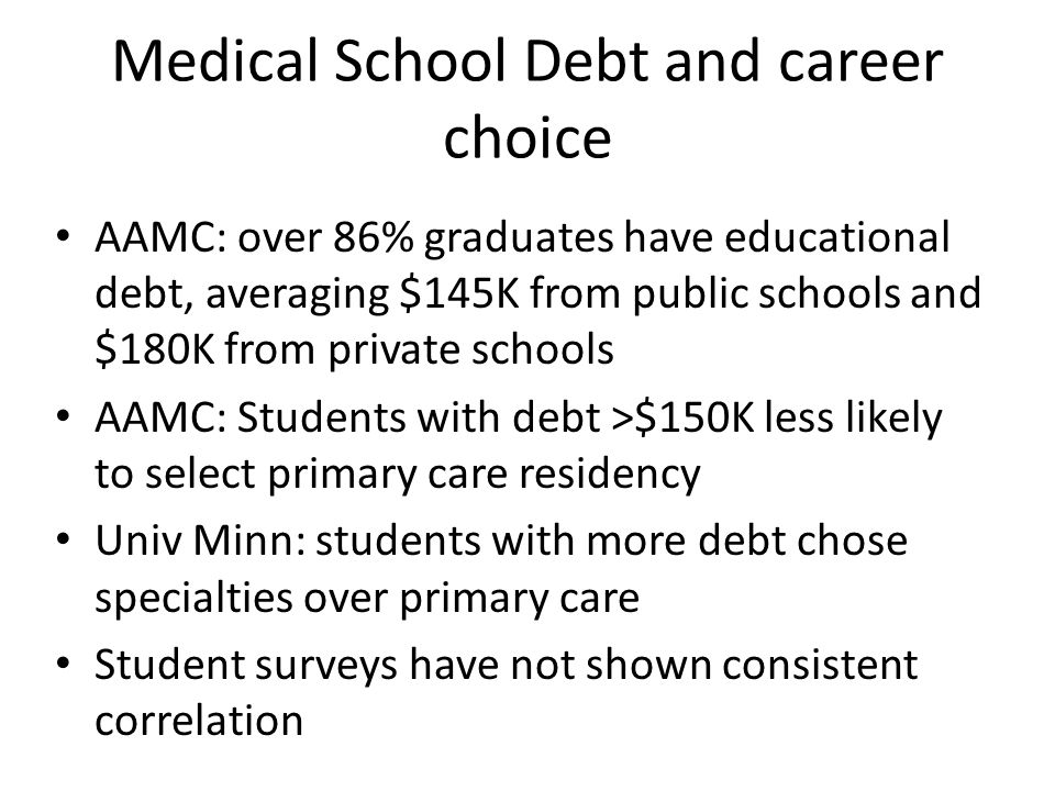 Medical School Debt and career choice AAMC: over 86% graduates have educational debt, averaging $145K from public schools and $180K from private schools AAMC: Students with debt >$150K less likely to select primary care residency Univ Minn: students with more debt chose specialties over primary care Student surveys have not shown consistent correlation