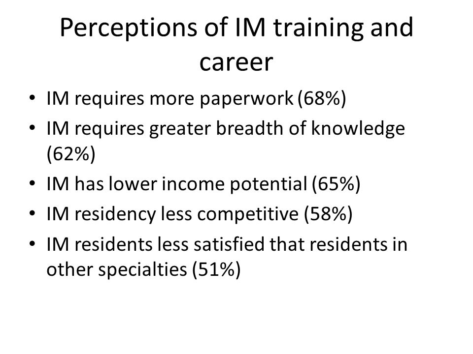 Perceptions of IM training and career IM requires more paperwork (68%) IM requires greater breadth of knowledge (62%) IM has lower income potential (65%) IM residency less competitive (58%) IM residents less satisfied that residents in other specialties (51%)