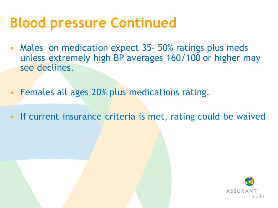Blood pressure Continued Males on medication expect 35- 50% ratings plus meds unless extremely high BP averages 160/100 or higher may see declines.
