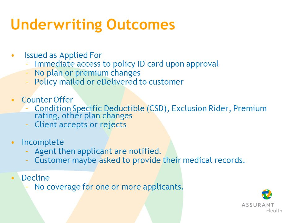 Underwriting Outcomes Issued as Applied For –Immediate access to policy ID card upon approval –No plan or premium changes –Policy mailed or eDelivered to customer Counter Offer –Condition Specific Deductible (CSD), Exclusion Rider, Premium rating, other plan changes –Client accepts or rejects Incomplete –Agent then applicant are notified.