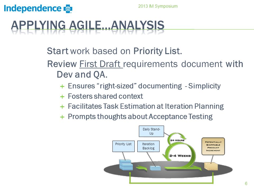 Start work based on Priority List. Review First Draft requirements document with Dev and QA. Ensures right-sized documenting - Simplicity Fosters shar